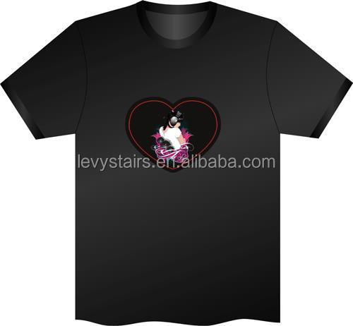 new design sound activated custom led t shirt wholesale cheap price