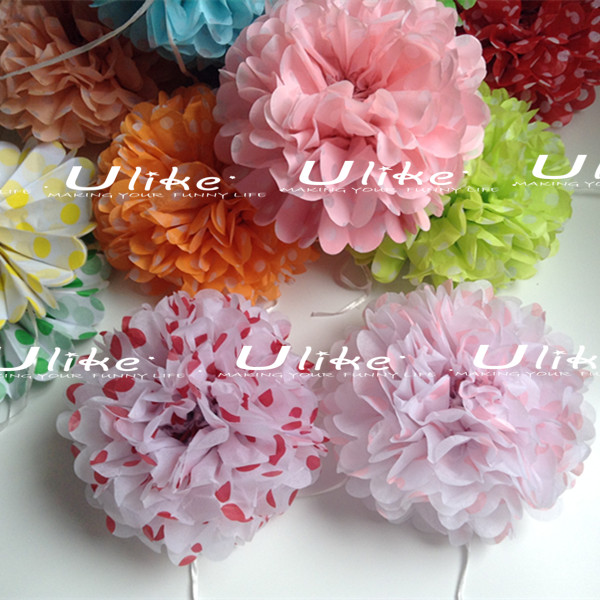 Polka Dots Hanging tissue paper pom poms,artificial wedding decoration hanging flowers,pink tissue paper flowers for wedding