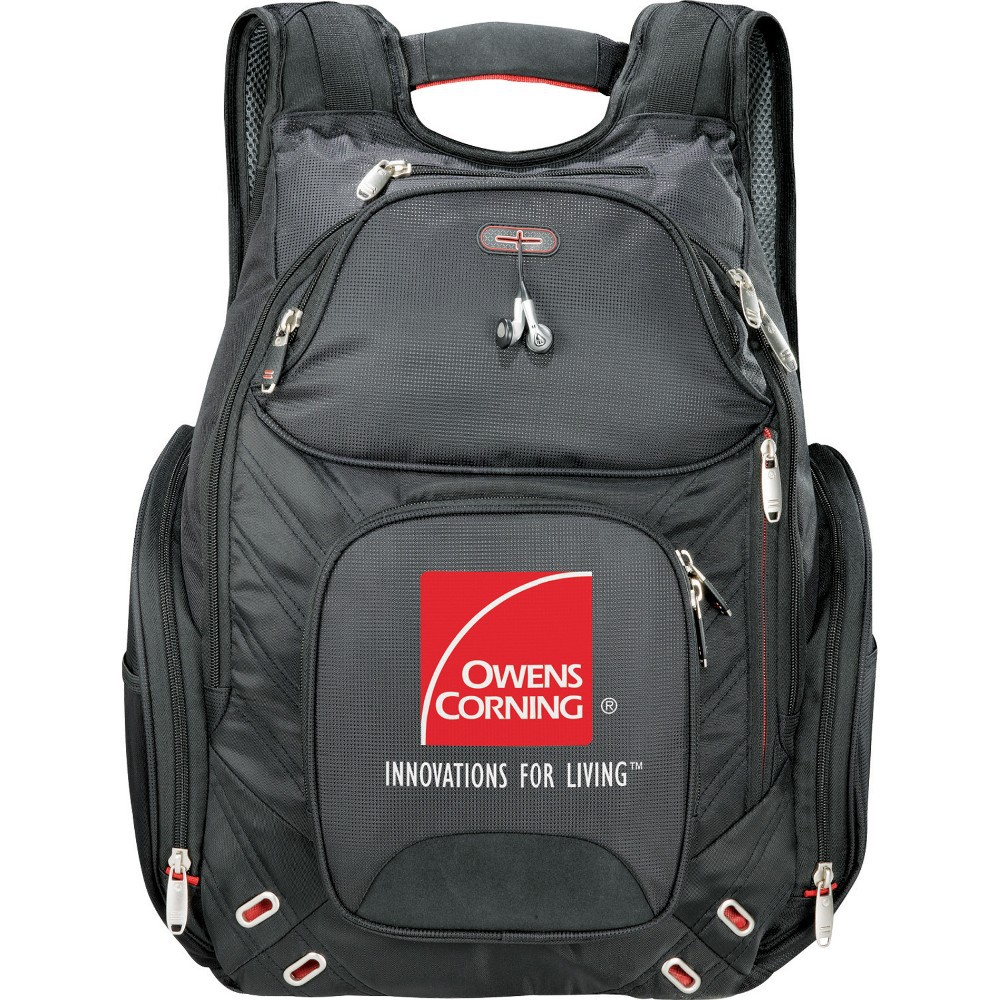 "Elleven Amped checkpoint-friendly compu-backpack. Features a laptop compartment that fits most 17"" laptops Comes with your logo"