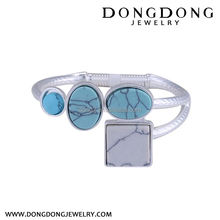 New coming different types white stainless steel inlaid turquoises wedding bracelet jewelry