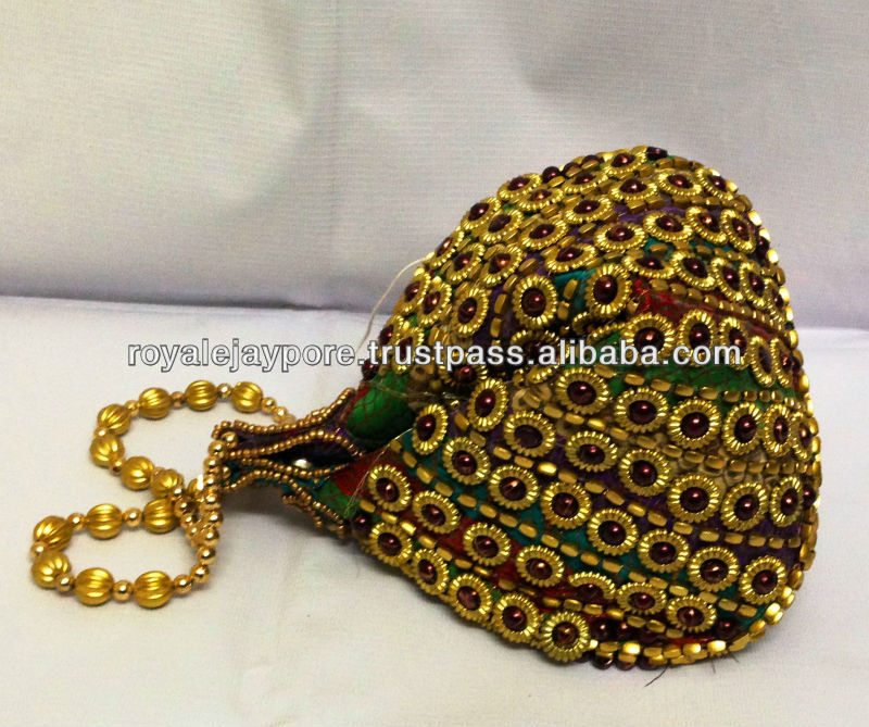 Gorgeous Beautiful Bridal Potli Bag Beaded Wedding Party Brocade Clutch