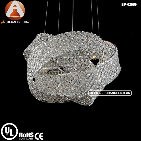 Emilia clear crystal pendant light LED chandelier with chrome bands