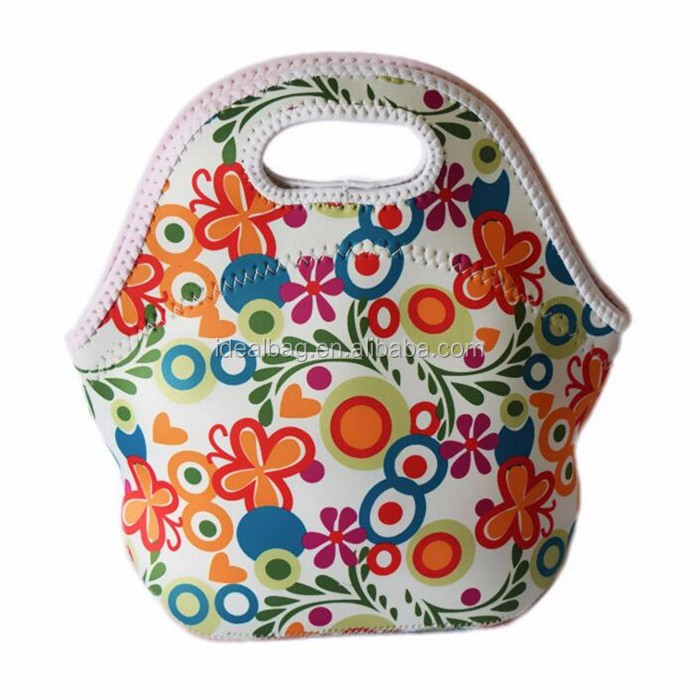 Custom printed outdoor waterproof picnic neoprene handbag lunch bag