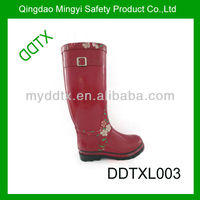 Comfortable red high quality cheap women rubber rain boots