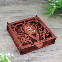 High Quality Customized Laser Cut Personalized Wedding Invitation Wooden Box for Sale