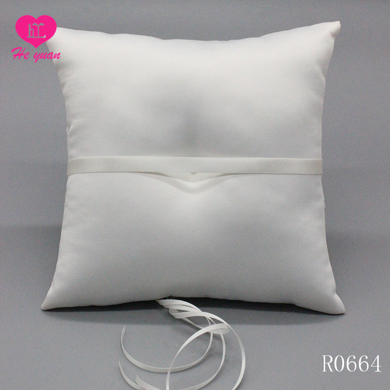 Elegant White Wedding Pillow Ring with Graceful Buckle