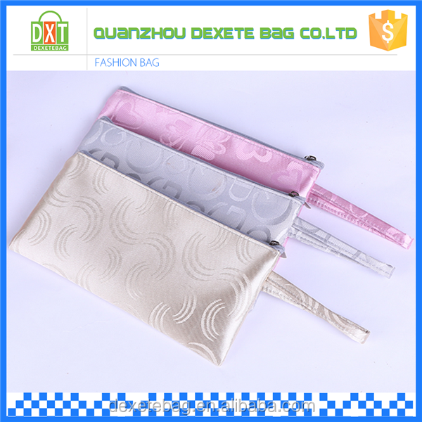 Custom high quality satin portable toiletry cosmetic travel bag organize