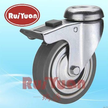European type indoor Plain bearing Thermoplastic rubber wheel bolt hole double brake caster