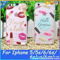 Sexy and Luxury Lips Lipstick Printing Phone Cases Transparent Hard TPU Back Cover Shell For iPhone 6 6s 5 5s 6plus 6splus