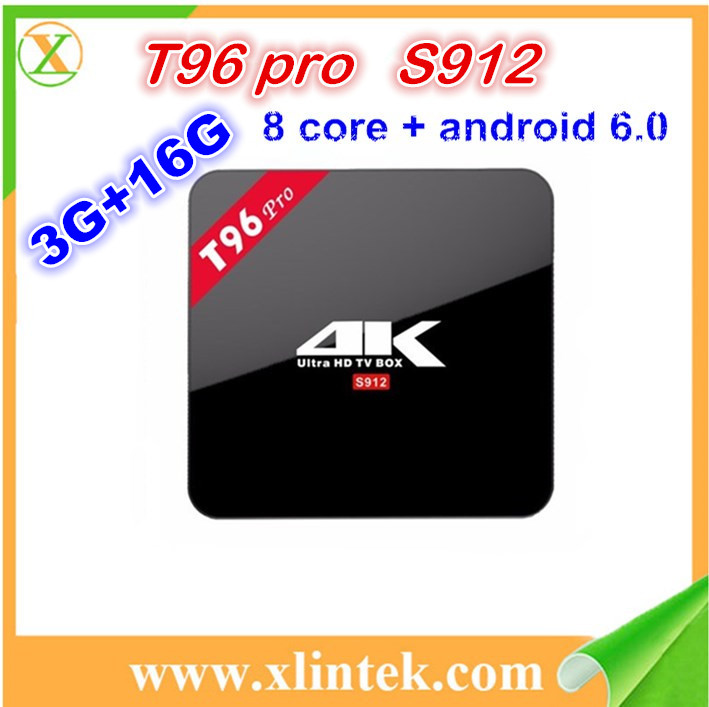Wholesale Price Octa core Amlogic s912 T96 pro android 6.0 TV BOX with 3G 16GB Dual Wifi BT 4.1 google android smart tv box