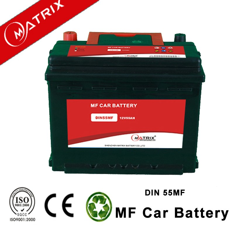 din55 12V 55ah maintenance free lead acid mf automobile car battery wholesale