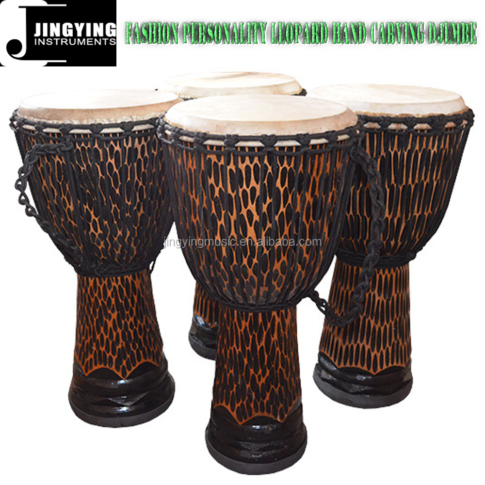 WMD09 Fashion Personality Leopard Hand Carving Djembe Drums