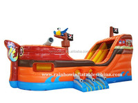 Outdoor amusement park inflatable pirate ship ball pit,giant inflatable pirate ship slide