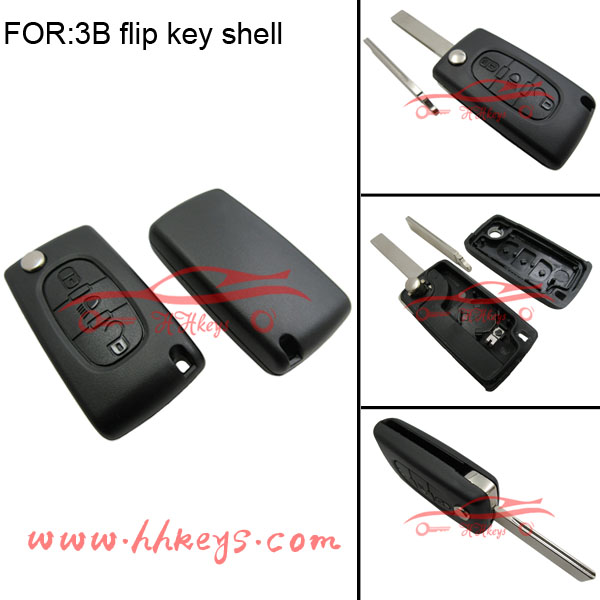 Hot sale custom Peugeot 407 key blank remote control key case 3 buttons with logo and battery place