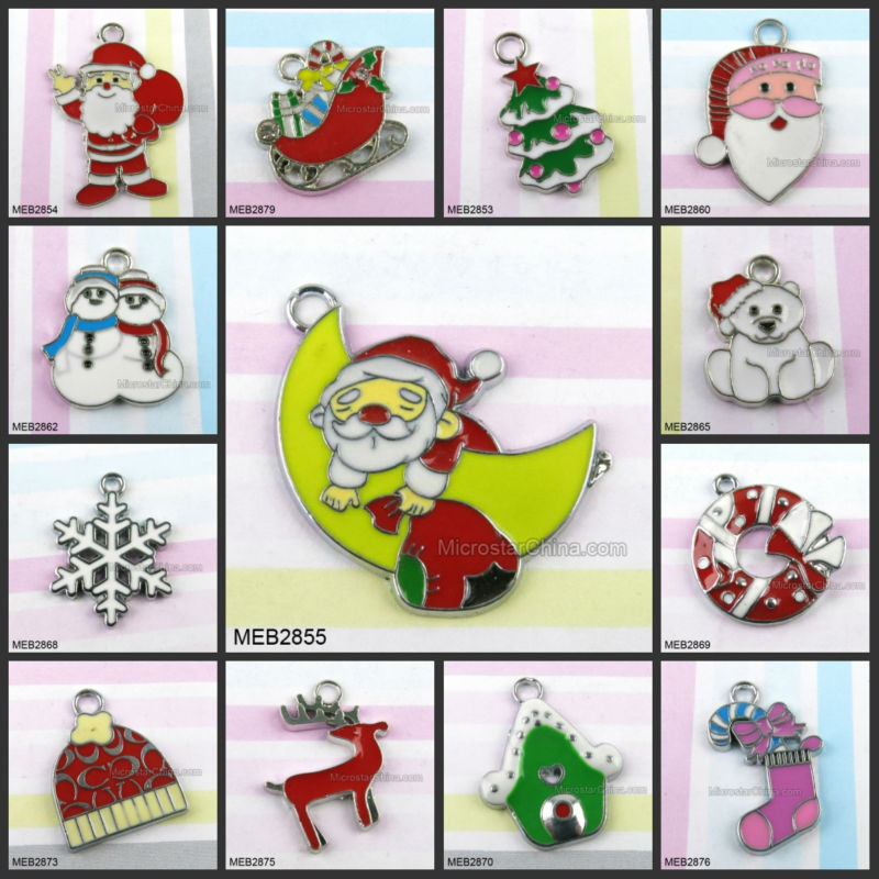 Mixed Enamel Christmas Charms Pendants Christmas Decoration