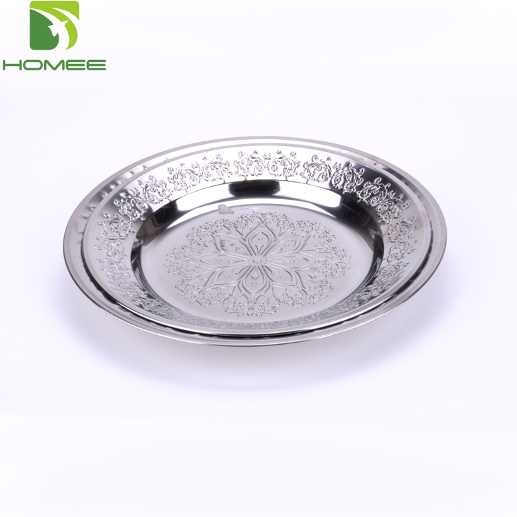 New design stainless steel flower carving food serving tray