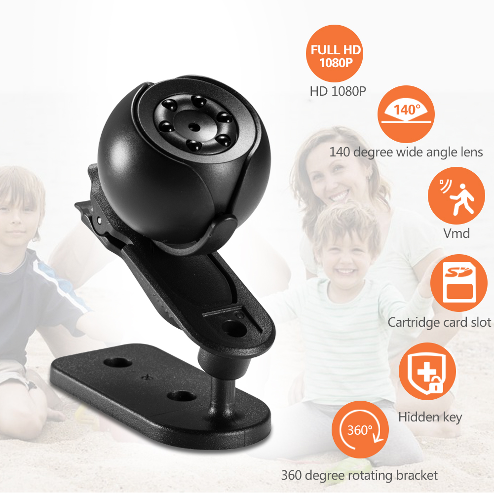 SQ6 360 Degree Rotate Small Night Vision Hidden Cctv Spy Camera Invisible With Slim Card