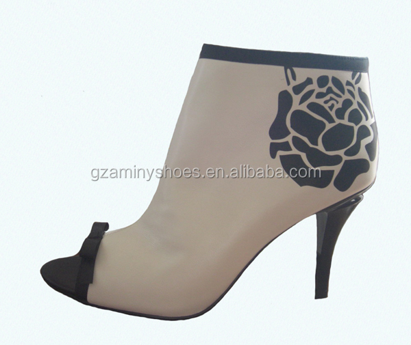 New design popular fashion flower peep toe elegant women ankle boot