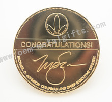 mirror n gold metal play metal coin for buesiness gift