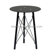 Hot selling KD modern Living room Glass and metal End Table sofa table with crossing metal wire bar design