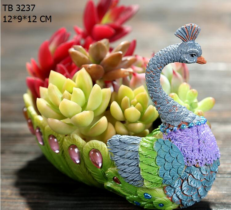 peacock shape succulent pot resin animal garden planters and pots
