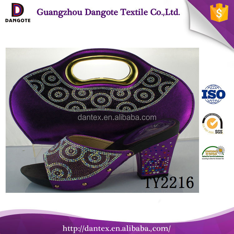 Beautiful TY2216 ladies low heel shoes and bag handle / shoes and bags to match
