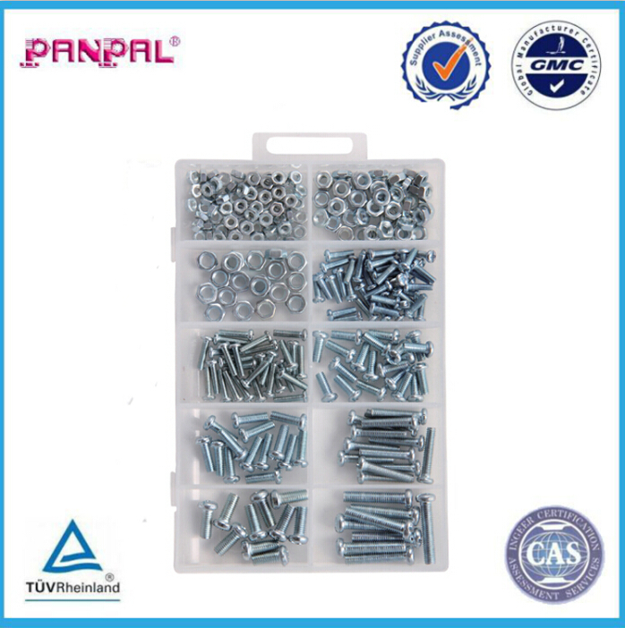 BSCI Approved factory price hot sale assorted sizes steel 275pc zinc plated hexagon nut and machine screw assortment with PP box
