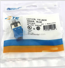 AMP rj45 cat6 keystone modular jack blue with dust cover