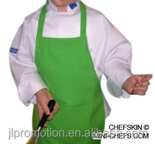 CHEFSKIN LIME GREEN APRON KIDS CHILDREN REAL FABRIC 100% POLY CENTER POCKET AND RIBBON STRAPS ULTRA LIGHTWEIGHT