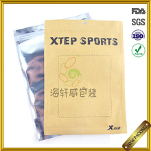 reusable one side transparent kraft paper jeans packaging clothes packing doypack with air vent and zipper