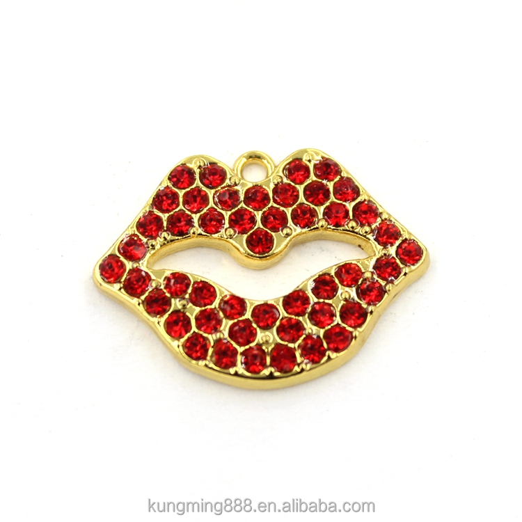 Stainless steel jewelry red lip kiss chain metal ring pendant necklace