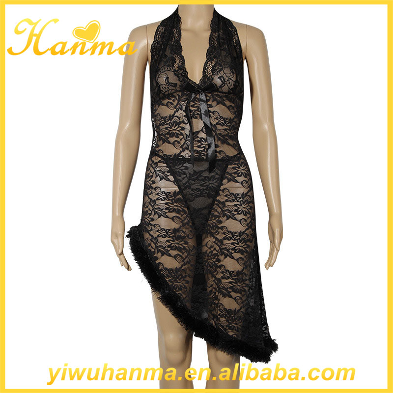 Sexy fancy enchanting sleepwear lace lingerie transparent nightgowns