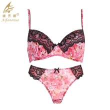 Mesh Lace print underwear ladies sexy panty and bra sets OEM Design