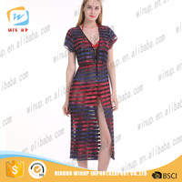 Wholesale women new sexy beach dress open fork floral stripe cover up