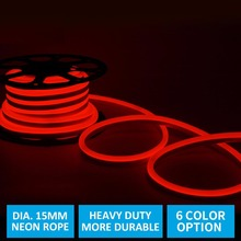 15MM Diameter Red 12V Car Neon Rope Light, 2835 120Led/M Super Bright LED Neon Flex Tube for Home
