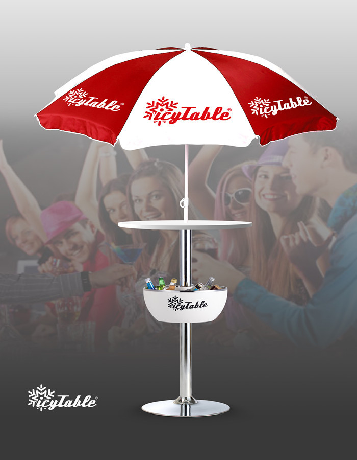 Patented Icy table with umbrella and chairs Portable Bar Table Pub table