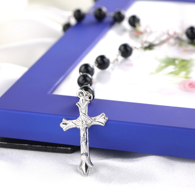 Mens Beckham Cross Pendant Black Rosary Beads Necklace Brand New Drop Shipping Wholesale