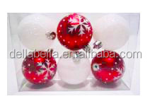 3matte red hand painted glitter white christmas plastic ball