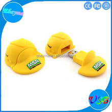 Safety helmet shaped memory stick soft pvc colorful 2gb wholesale usb pen drive
