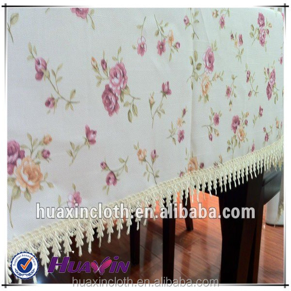 sequin fabric printed polyester decorative table cloth in flower design