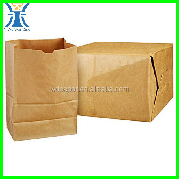 Yiwu New Arrived wholesale recycle handmade no handle brown strong plain Grocery kraft paper bag