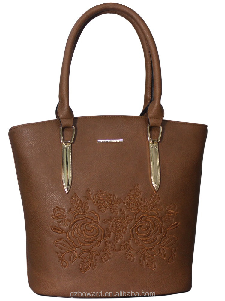 Stylish ladies elegant rose embroidery tote bags women PU leather handbags