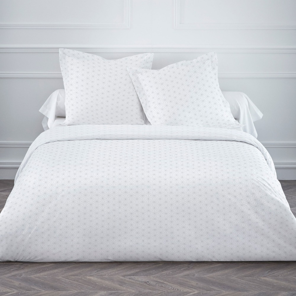 White hotel jacquard bed linen set duvet cover set buy for Housse de couette blanc beige