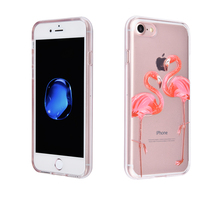Stylish TPU Silicone Relief Pattern Case Clear Glitter Back Protective Cover for Apple iphone 7