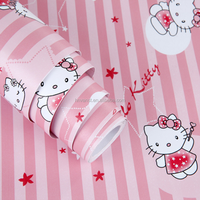 Children cartoon Hellow Kitty PVC vinyl wallpaper for kids room decoration