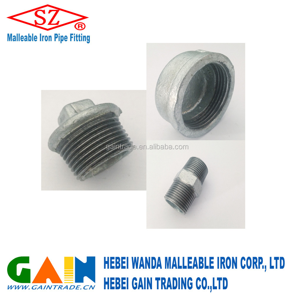 Galvanized iron pipe end plug/cap/ BSPT Thread/NPT