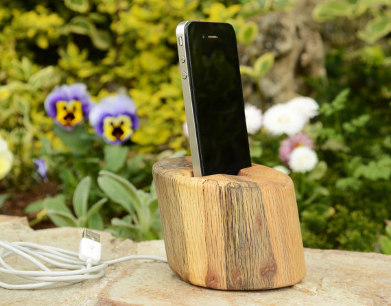 Handmade Phone Stand from Recycled Solid European Oak Wood Wood Mobile Phone Holder