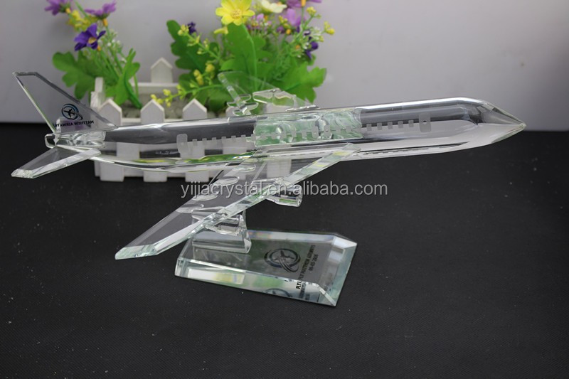Exalted Airline Souvenir Gift K9 Crystal Glass Airplane Model/Personalized K9 crystal airplane model gifts