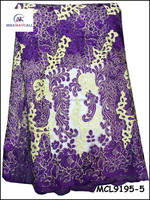 MCL9195-5 High quality Fashion embroidery french lace fabric purple dress for party