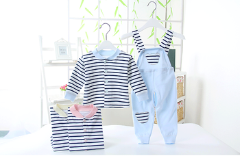100% contton Children jumpsuit two sets clothes black and white striped wear spring autumn